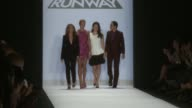 Nina Garcia Heidi Klum Emmy Rossum and Zac Posen walk the runway during Project Runway Spring 2015 MercedesBenz Fashion Week at The Theatre at...