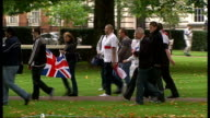 Ninth anniversary of New York 9/11 attacks EDL and Muslim protesters outside US Embassy in London English Defence League protesters arriving with...