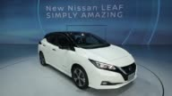 Nissan Motor Co's new Leaf electric vehicle stands on display at the unveiling in Chiba Japan on Wednesday Sept 6 2017 Photographer Kiyoshi Ota Shots...