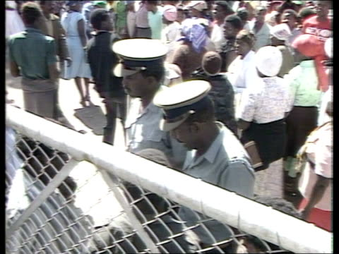 Nkomo returns after five months in exile ITN Bulawayo Mass crowds gather outside house of Zimbabwe Opposition ldr Joshua Nkomo TMS More crowds...