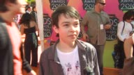 Noah Ringer being at the event on if he would like to get slimed who he would like to see get slimed and on what makes the audience so special at the...