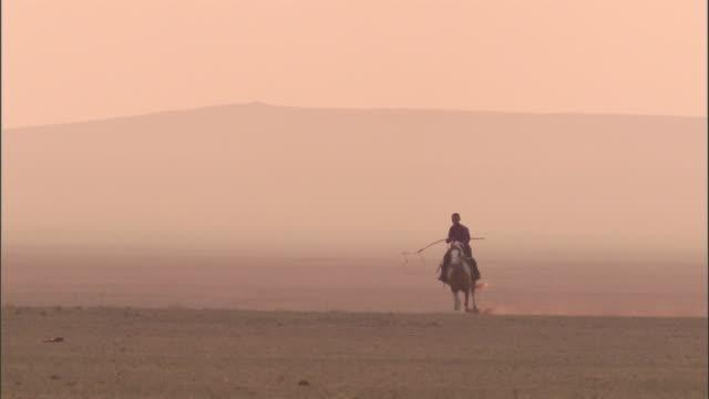 Nomadic herder rides horse on steppe, Mongolian steppe