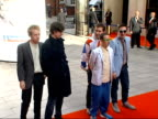 Nominated bands arrive for Mercury music prize awards EXT 'Hot Chip' band posing for press on red carpet on arrival at Mercury music prize awards
