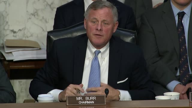 North Carolina Senator Richard Burr offers concluding remarks at the end of a lengthy hearing with representatives from Facebook Twitter and Google...