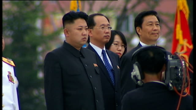 North Korea Uncovered Defectors give evidence to UN human rights council **Music heard SOT** Kim Jong Un standing next to others Statue of soldier's...