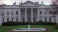 MS North lawn of white house with fountain / Washington D.C., United States