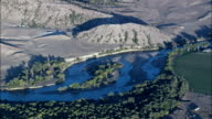 North Platte River At Sunset  - Aerial View - Wyoming, Platte County, United States