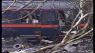 Selby train crash general views of site and emergency workers ENGLAND North Yorkshire Near Selby Great Heck EXT John Prescott MP arriving at scene /...