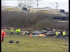 Selby train crash North Yorkshire Nr Selby Great Heck Wrecked carriages at side of track PAN