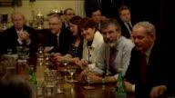 Devolution crisis talks NORTHERN IRELAND Belfast Hillsborough Castle INT Powersharing talks participants seated around talks table including Gordon...