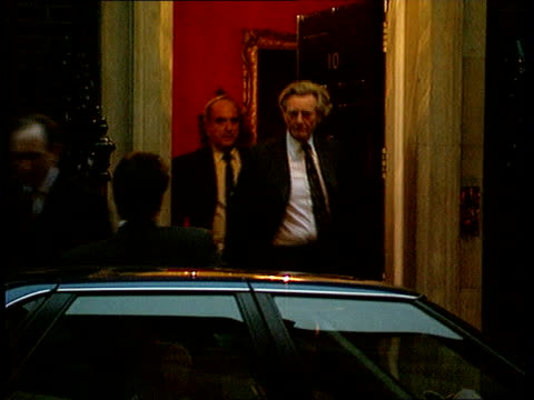Election proposals ITN ENGLAND Downing Street MS Cabinet subcommittee leaving No 10 after meeting Malcolm Rifkind followed by Michael Heseltine Brian...