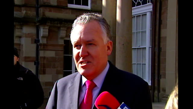 DUP call to delay power sharing FILE / TX Stormont Castle EXT Peter Hain MP speaking to press SOT it's either devolution or dissolution on March 26th...