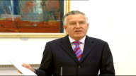Independent Monitoring Commission report findings Peter Hain press conference NORTHERN IRELAND Belfast INT Peter Hain MP press conference SOT Today's...