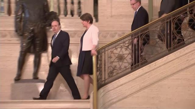 Northern Ireland power sharing deadlock over language issue Former President Bill Clinton intervenes ****FLASH Stormont INT Foster DUP Deputy Leader...