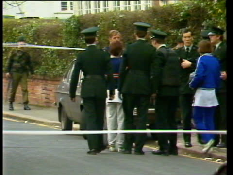 Teacher Mary Travers shot dead in IRA attack NORTHERN IRELAND Belfast EXT St Bridgets Roman Catholic Church Police officers in cordoned off area...