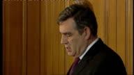 Brown / Darling press conference cutaways ENGLAND London 10 Downing Street EXT Cutaways of Gordon Brown MP monthly Downing Street press conference...