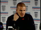 Northumberland David Beckham press conference SOT Talks of having to make sure England beat Albania