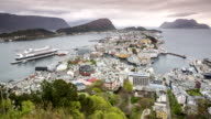 Norway, Alesund, View on historic city center in Jugendstil style from Aksla mountain. Unesco World Heritage site. Left cruise ship MS Rotterdam from Holland-America LIne