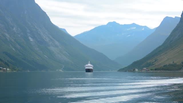 Norway cruise Hurtigruten ship fjord beautiful scenic of ship Richard With in Hjorundjorden area of Norway mountains