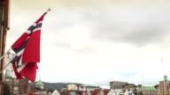 Norwegian flag at Bryggen in Bergen