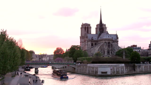 HD:  Cattedrale di Notre-dama al tramonto a Parigi, Francia