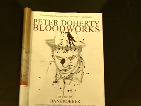 Notting Hill gallery showing Pete Doherty's drawings Catalogue for exhibition opened at title page reading 'Peter Doherty Bloodworks first showing of...