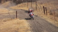 November 9 2009 MONTAGE A professional freestyle motocross rider making a run up to and executing a basic high jump in a field