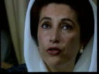 November In 1988 Benazir Bhutto became Prime Minister of Pakistan EXT People dancing / Close shot of Benazir Bhutto and interview after becoming...