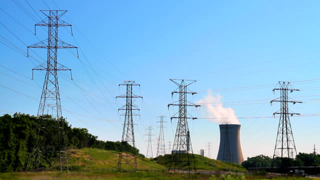 Nuclear Cooling Tower With Transmission Towers