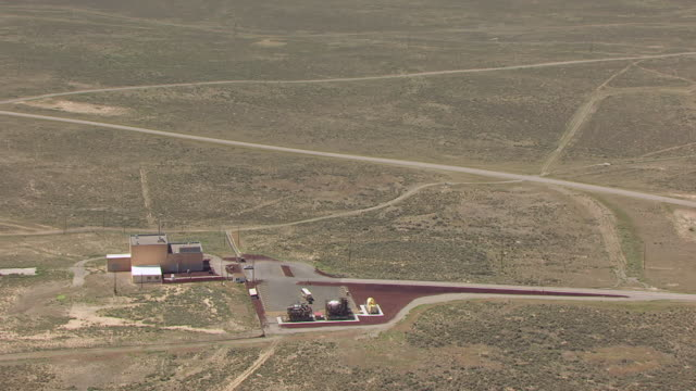CU AERIAL ZO Nuclear Experimental Breeder Reactor 1 Site with landscape in Idaho Desert / Idaho, United States