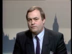 Nuclear Power Station capacity in the UK London 2 SHOT Lawrence McGinty John Prescott on monitor INTVW SOF '2 cabinet members what it's all about'...