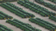 MS POV Number of green tractors arranging in a row / Iowa, United States