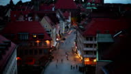 Nuremberg at night, camera pan
