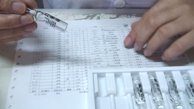 CU, Nurse checking off medication on sheet and preparing medication, close-up of hands, Shandong Jinan Baofa Cancer Hospital, Jinan, Shandong, China