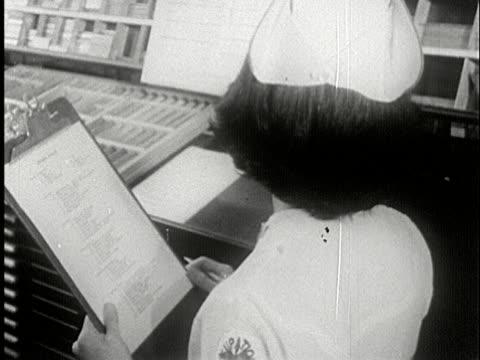 MS, B/W, Nurse ticking list on clipboard, USA
