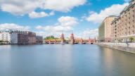 Oberbaumbruecke Berlin Timelapse in Summer with Spree River, Train and Cloud Dynamic