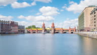 Oberbaumbruecke Berlin Timelapse Zoom in Summer with Spree River, Train and Cloud Dynamic