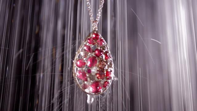 Object Heavy rain on beautiful necklace at night