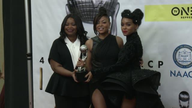 Octavia Spencer Taraji P Henson and Janelle Monae at 48th NAACP Image Awards at Pasadena Civic Auditorium on February 11 2017 in Pasadena California