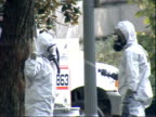 October 23 2001 WS Hazmat workers being decontaminated with equipment at the Capitol / Washington DC United States