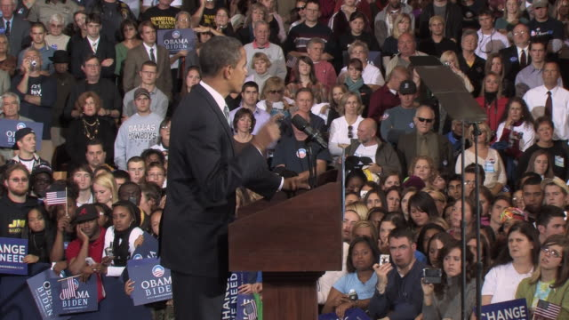 October 28 2008 MS ZO Democratic presidential candidate Barack Obama speaking before large crowd at campaign rally at James Madison University/...