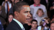 October 28 2008 CU Democratic presidential candidate Barack Obama speaking before large crowd at campaign rally at James Madison University/...