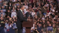 October 28 2008 MS PAN Democratic presidential candidate Barack Obama speaking before large crowd at campaign rally at James Madison University/...