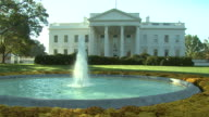 October 31 2008 WA South Lawn of White House with fountain in foreground / Washington DC United States