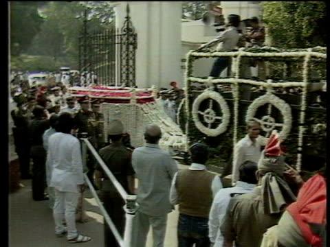 October In 1984 Indian Prime Minister Indira Gandhi was shot dead LIB New Delhi EXT Funeral procession of murdered Indian Prime Minister Indira...