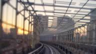Odaiba train ride through tunnel dusk