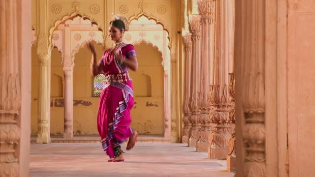 Odissi dancer performing in the palace, Ballabgarh, Haryana, India