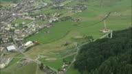 WS ZO AERIAL VIEW of cityscape with landscape / Schwyz, Switzerland