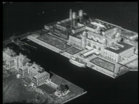 B/W 1939 NEWSREEL AERIAL of Ellis Island / NYC