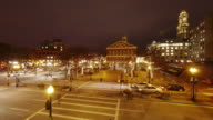 EW/S TL of Faneuil Hall at night during Christmas time in Boston, MA.